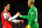Mikel Arteta and Tim Howard