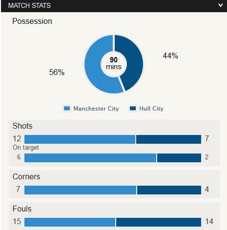 Man City Vs Hull Stat
