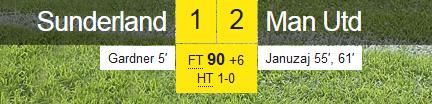 Sunderland 1-2 Man Utd