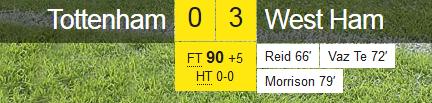 Tottenham 0-3 West Ham