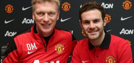 Juan Mata with David Moyes