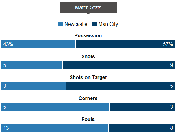 Newcastle 1-1 Man City Stats
